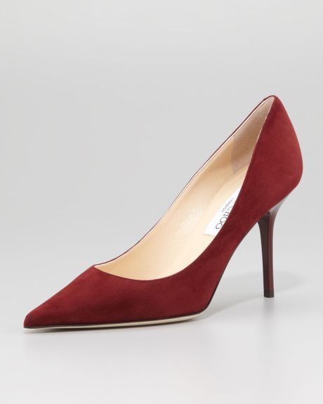 Jimmy Choo Agnes Suede Pointedtoe Pump in Red (CLARET)