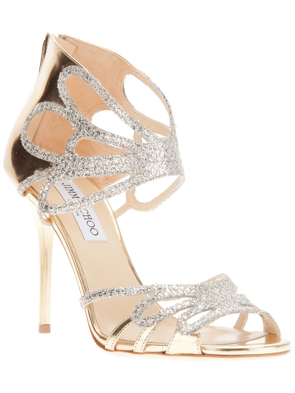 Lyst Jimmy Choo Metallic Sandal In Metallic