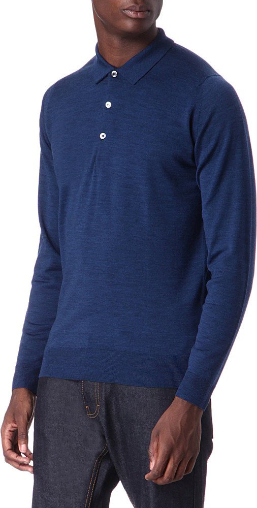 a8d310800a03 John Smedley Tyburn Slimfit Merinowool Polo Shirt in Blue for Men - Lyst