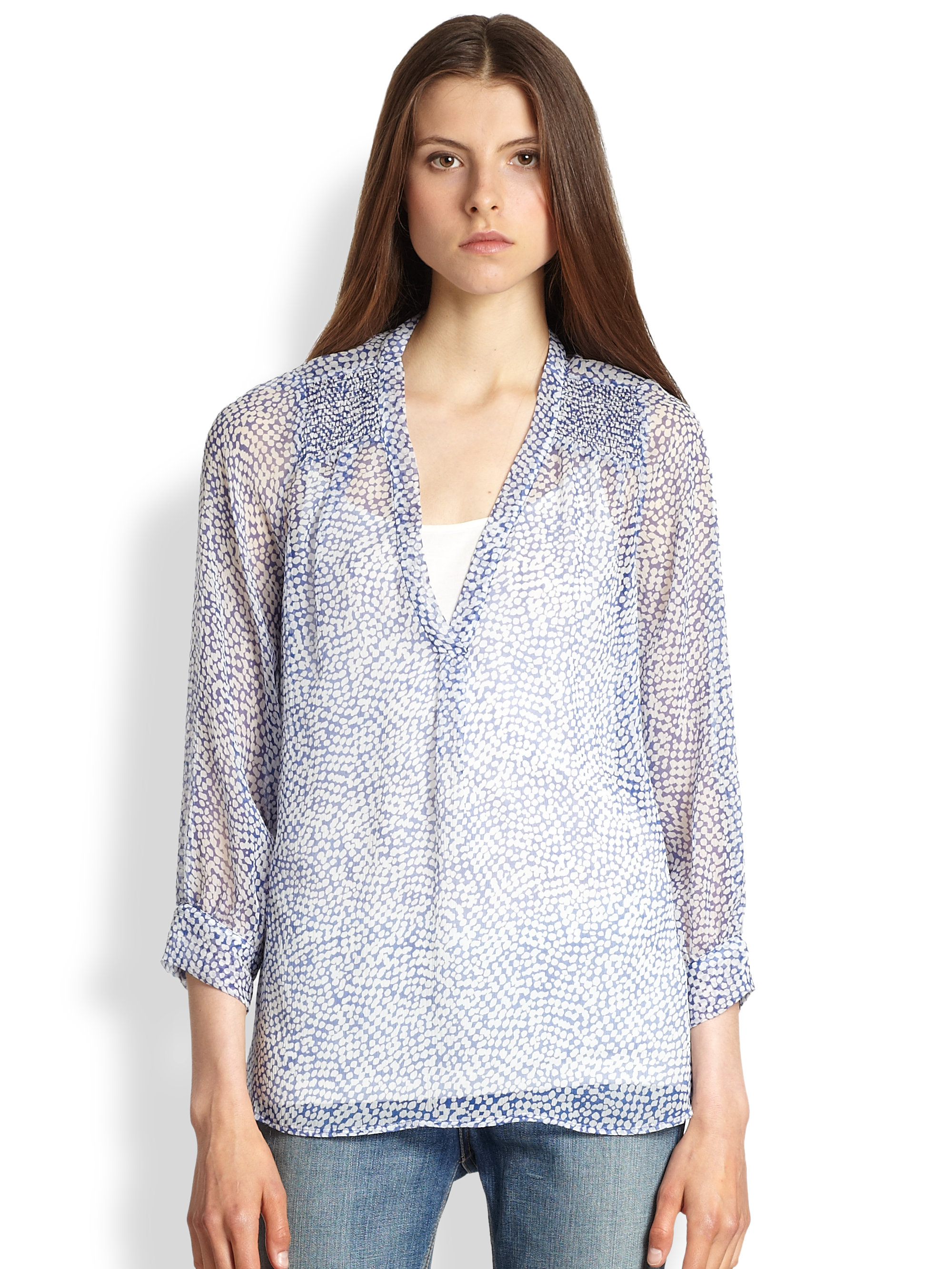 2abc36984effca Lyst - Joie Aceline Printed Silk Blouse in Blue