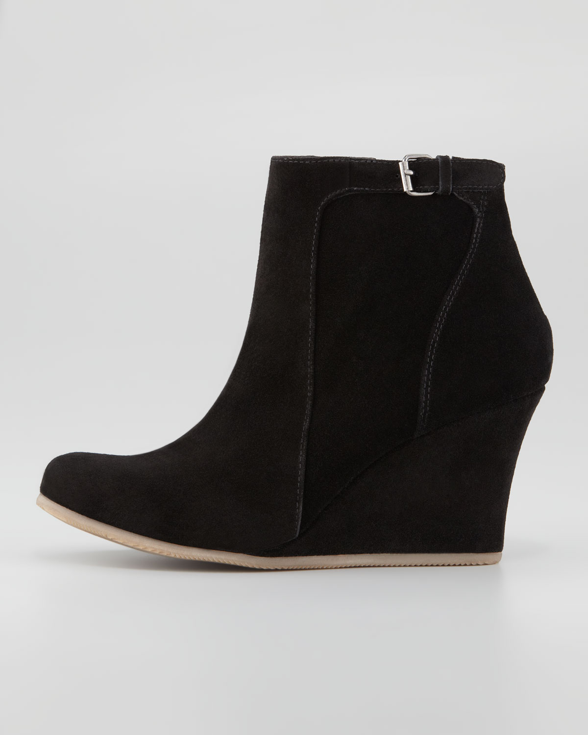 lanvin suede wedge ankle boot black in black lyst
