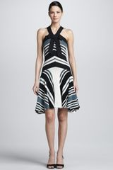 Lanvin Striped Grosgrain Halter Dress Blackwhite - Lyst