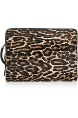 Lanvin Leopardprint Calf Hair and Texturedleather Clutch - Lyst