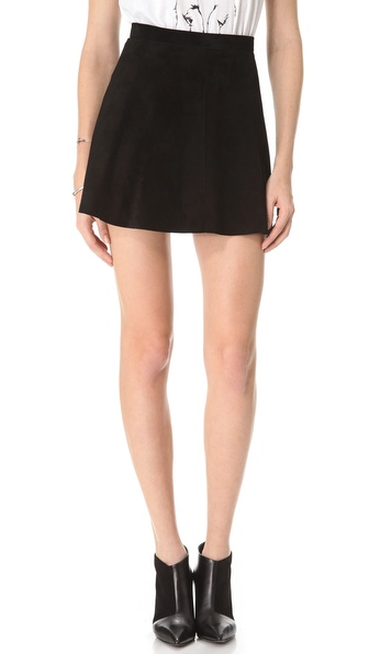 Love leather Suede A Line Mini-Skirt in Black | Lyst