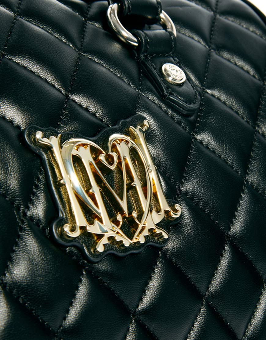 love moschino signature quilted bowling bag in black lyst. Black Bedroom Furniture Sets. Home Design Ideas