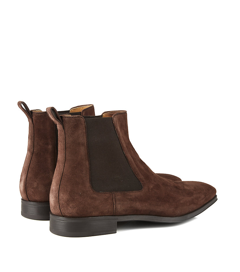 saks fifth avenue suede chelsea boot in brown for lyst