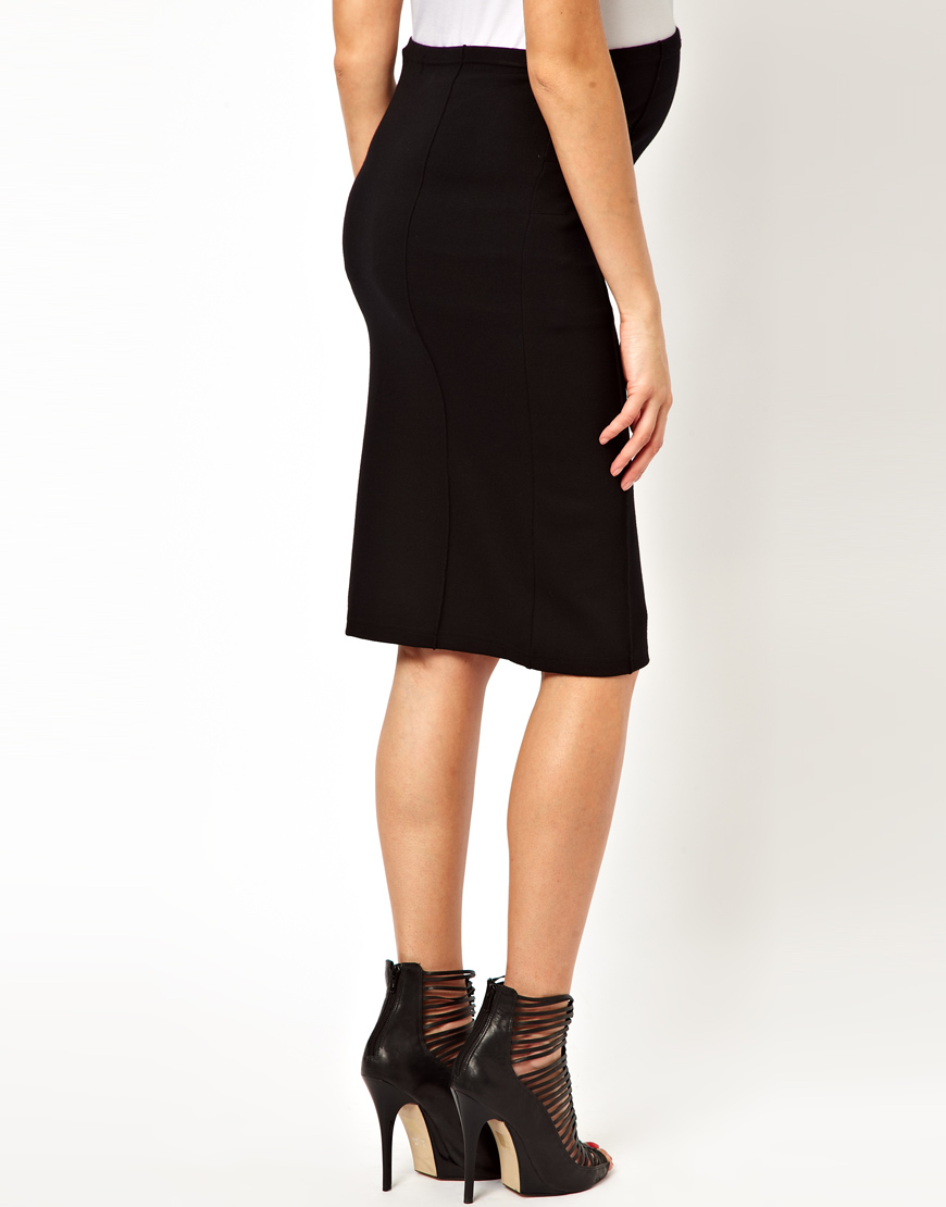 b4202dcef ASOS Mamalicious Jersey Tube Skirt in Black - Lyst