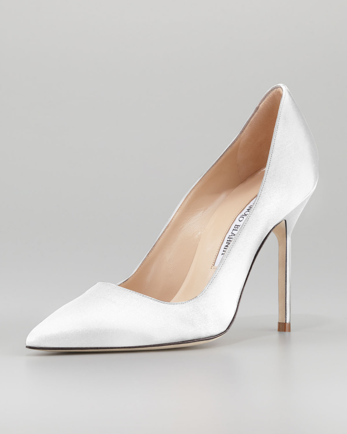 a332dc29788 shop manolo blahnik bb satin 105mm pump white made to order in white lyst  62b52 93d56