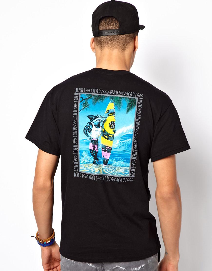 5274a40ba Maui & Sons Maui and Sons T-shirt Sharkman On The Beach Back Print ...
