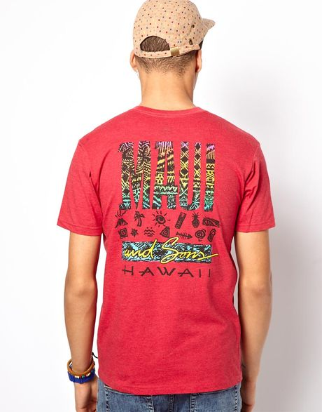 Maui sons tapa maui back print heather t shirt in red for T shirt printing maui