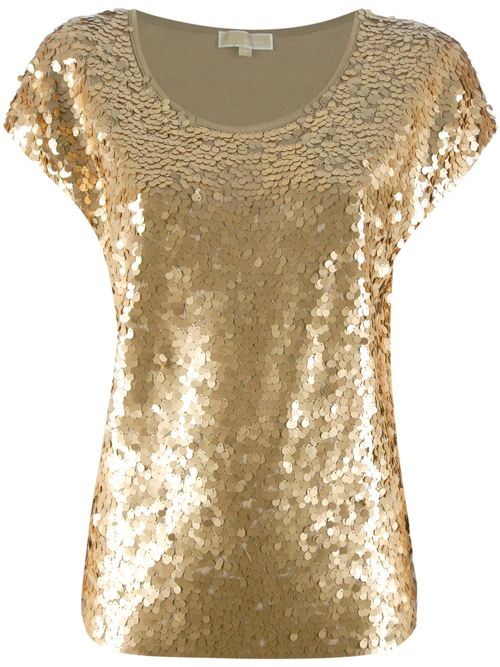 Lyst Michael Michael Kors Sequined Jersey Top In Metallic