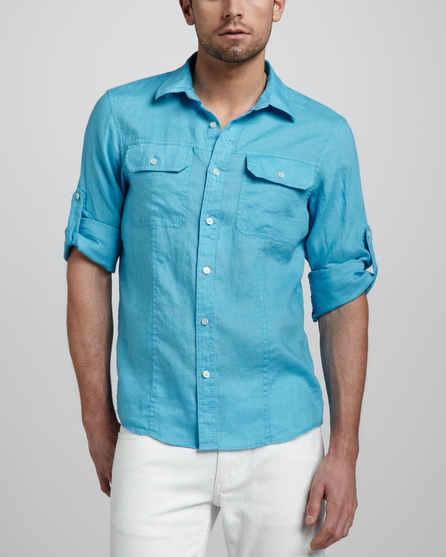 Michael Kors Twopocket Linen Shirt Turquoise In Blue For