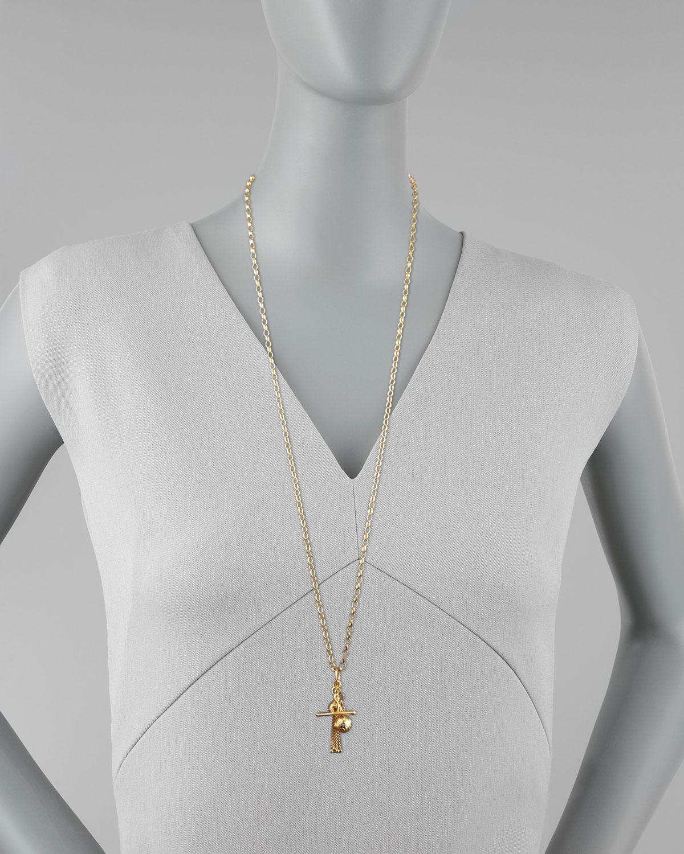Monica Rich Kosann 18k Gold Tassel/Toggle/Ball Charm Necklace nBBjJPNo4