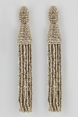 Oscar de la Renta Beaded Long Tassel Earrings Champagne - Lyst