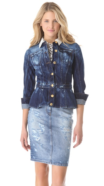 Balmain Fitted Denim Jacket in Blue | Lyst