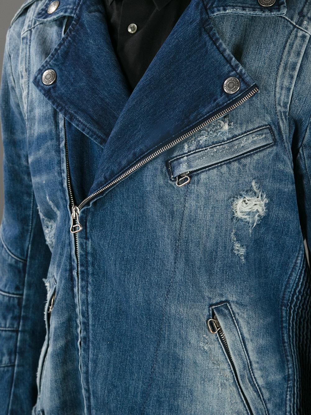 Balmain Denim Biker Jacket In Blue For Men Lyst