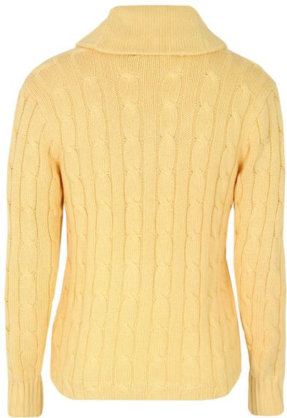 Polo Ralph Lauren Mens Cable Knit Cardigan In Yellow For