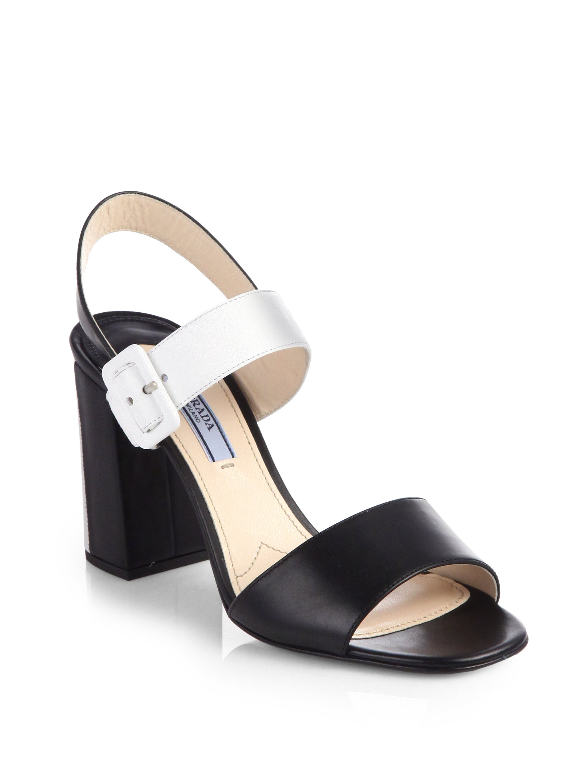 Black and white sandals with strap Prada mSVtnyKXI