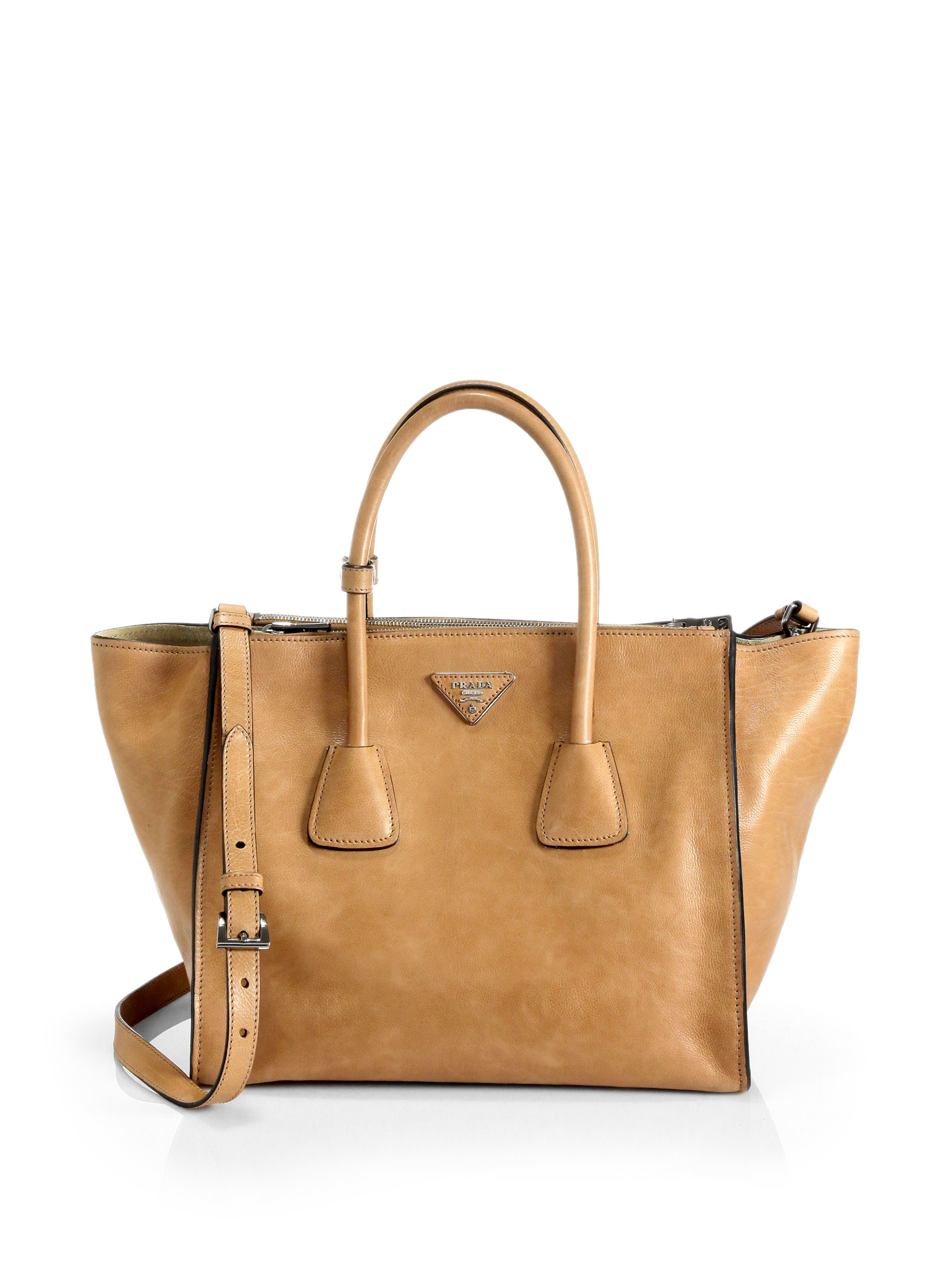 d32d560238eb ... inexpensive lyst prada glace calf twin pocket tote in brown 24dcb d0470