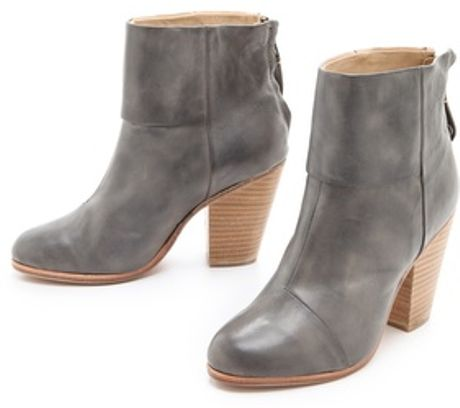 Rag & Bone Classic Newbury Booties in Painted Leather in Gray (white) - Lyst
