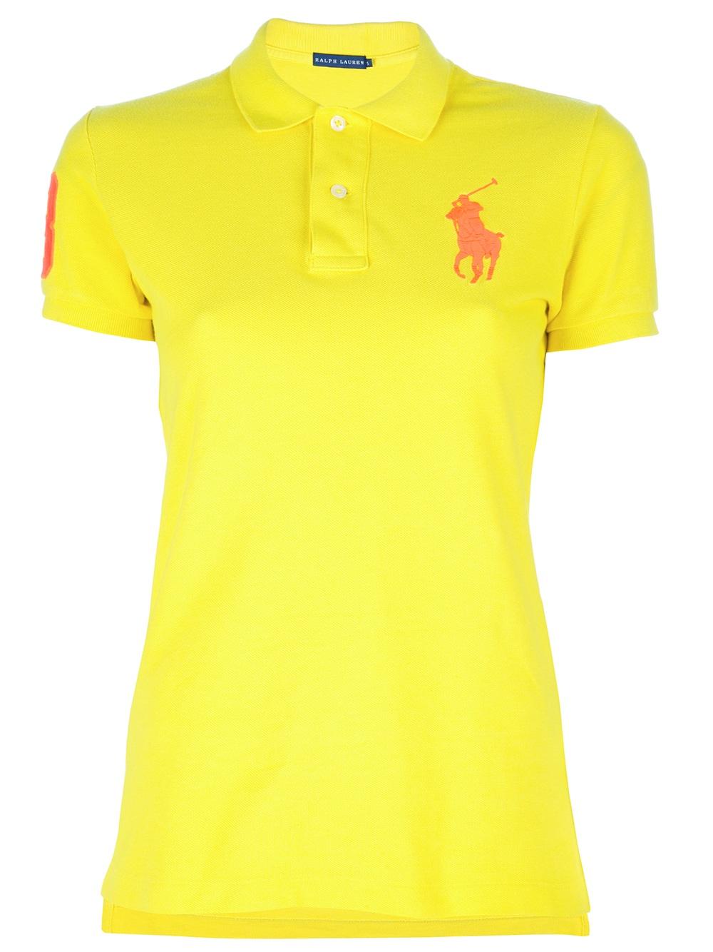 Ralph lauren blue label polo shirt in yellow lyst for Ralph lauren black label polo shirt