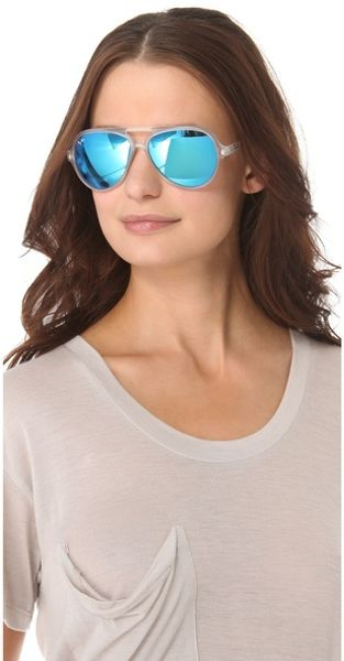 b79b620f1bd Ray Ban Mirrored Cats 5000 Aviator Sunglasses