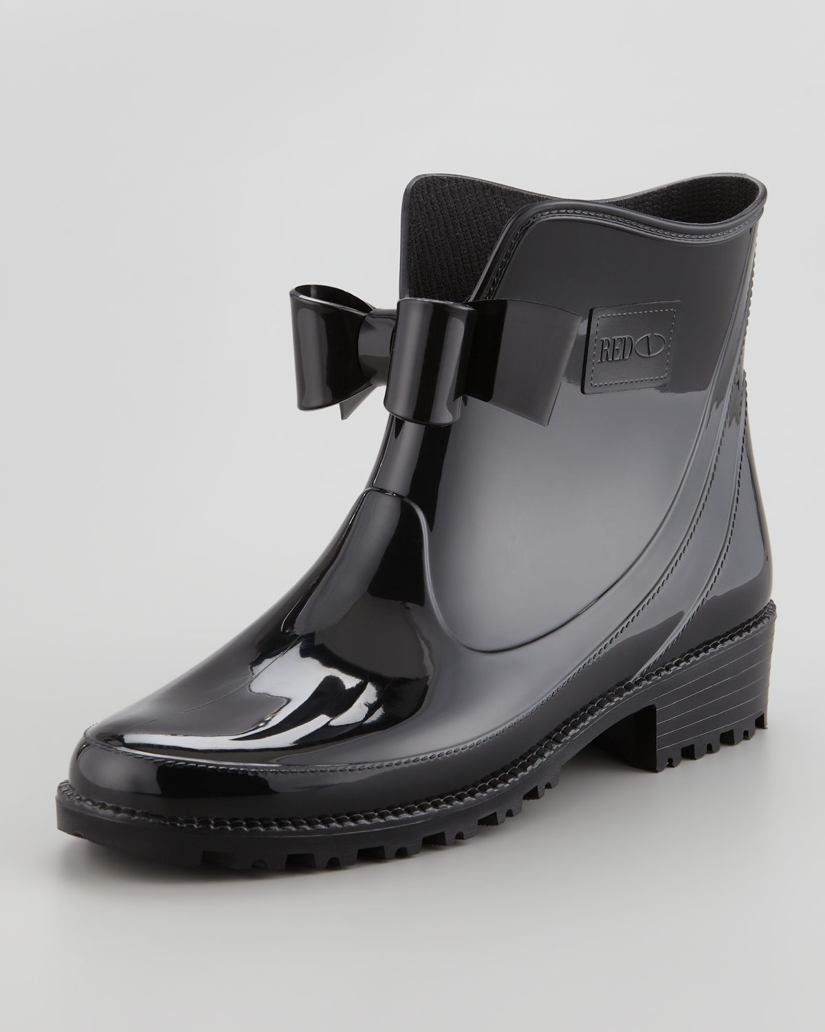 red valentino short rain boot with bow in black lyst