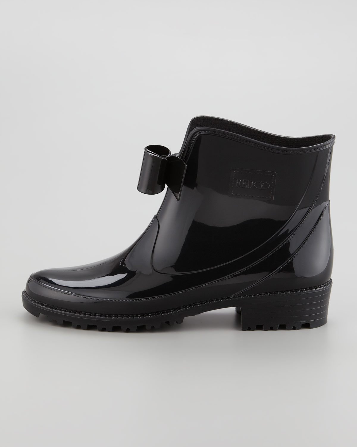 Red valentino Short Rain Boot with Bow in Black | Lyst