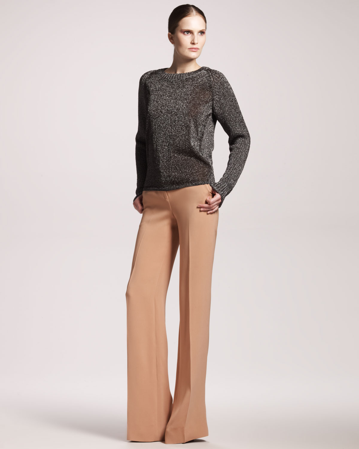 Reed krakoff Womens Wideleg Silk Pants in Natural | Lyst