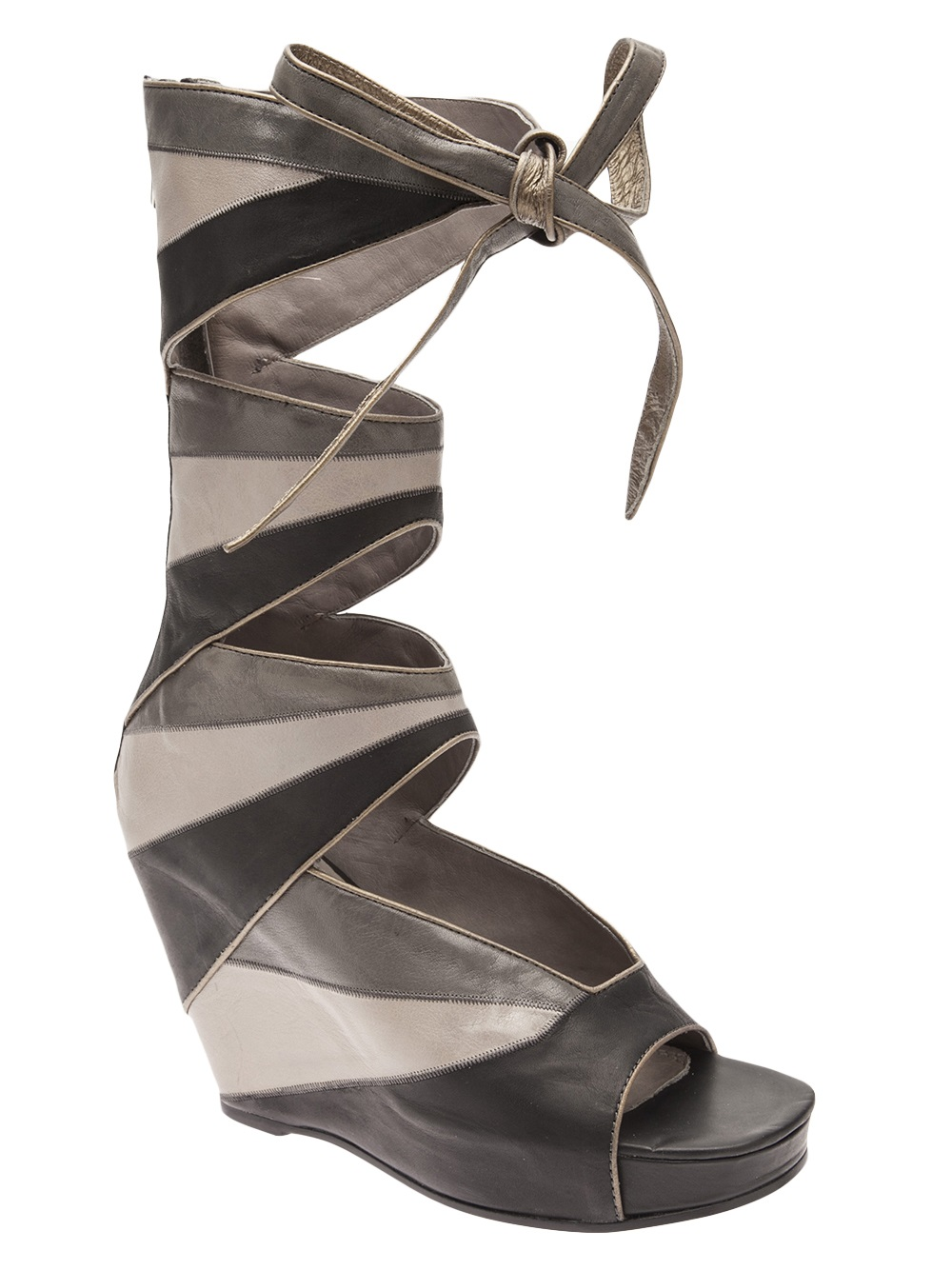 rick owens cut out wedge boot in gray grey lyst