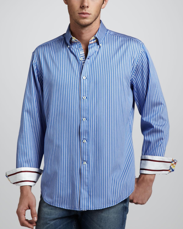 Robert graham tanjung longsleeve sport shirt blue in blue for Robert graham sport shirt