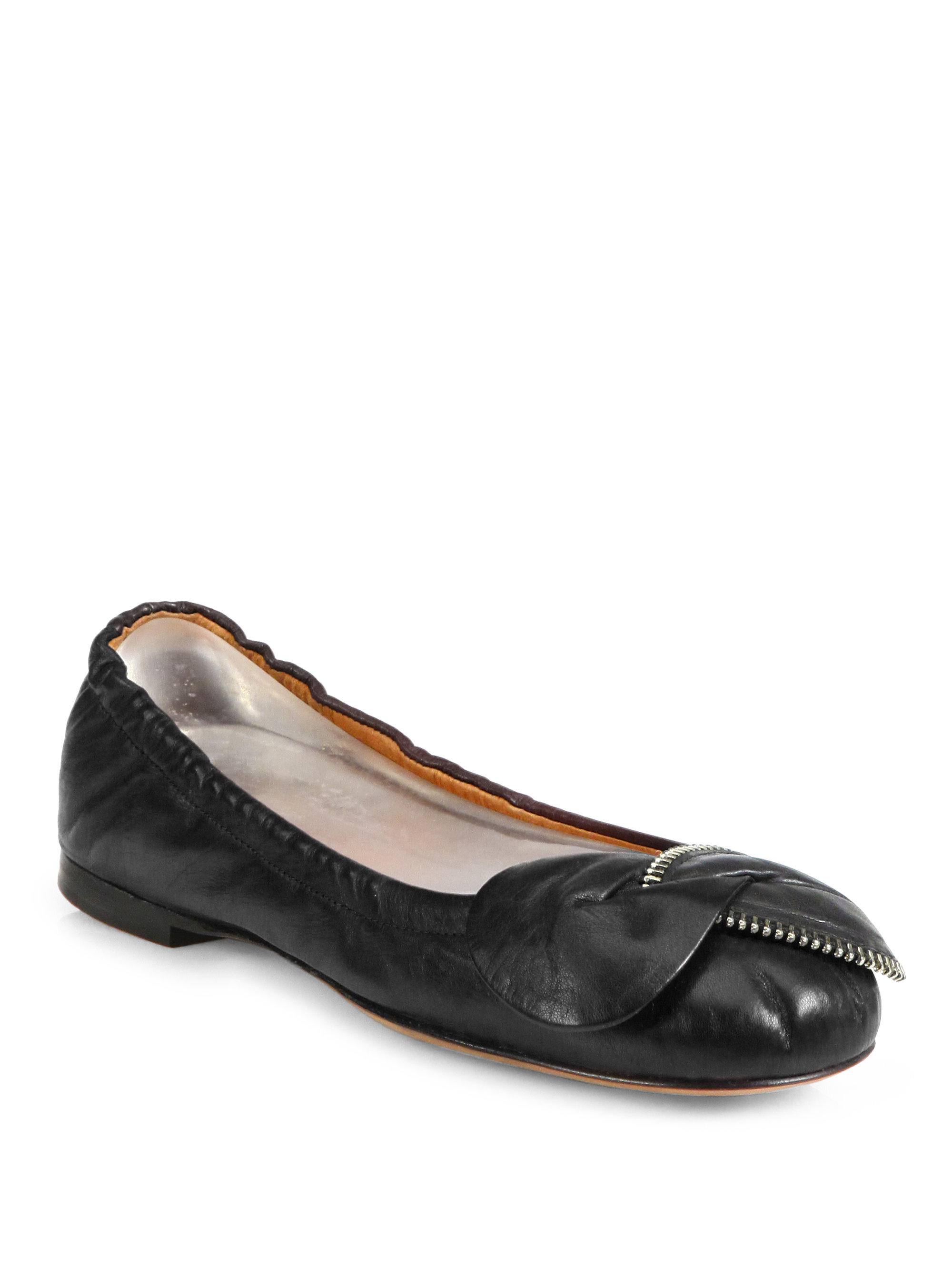 see by chlo clara leather zippertrimmed ballet flats in. Black Bedroom Furniture Sets. Home Design Ideas