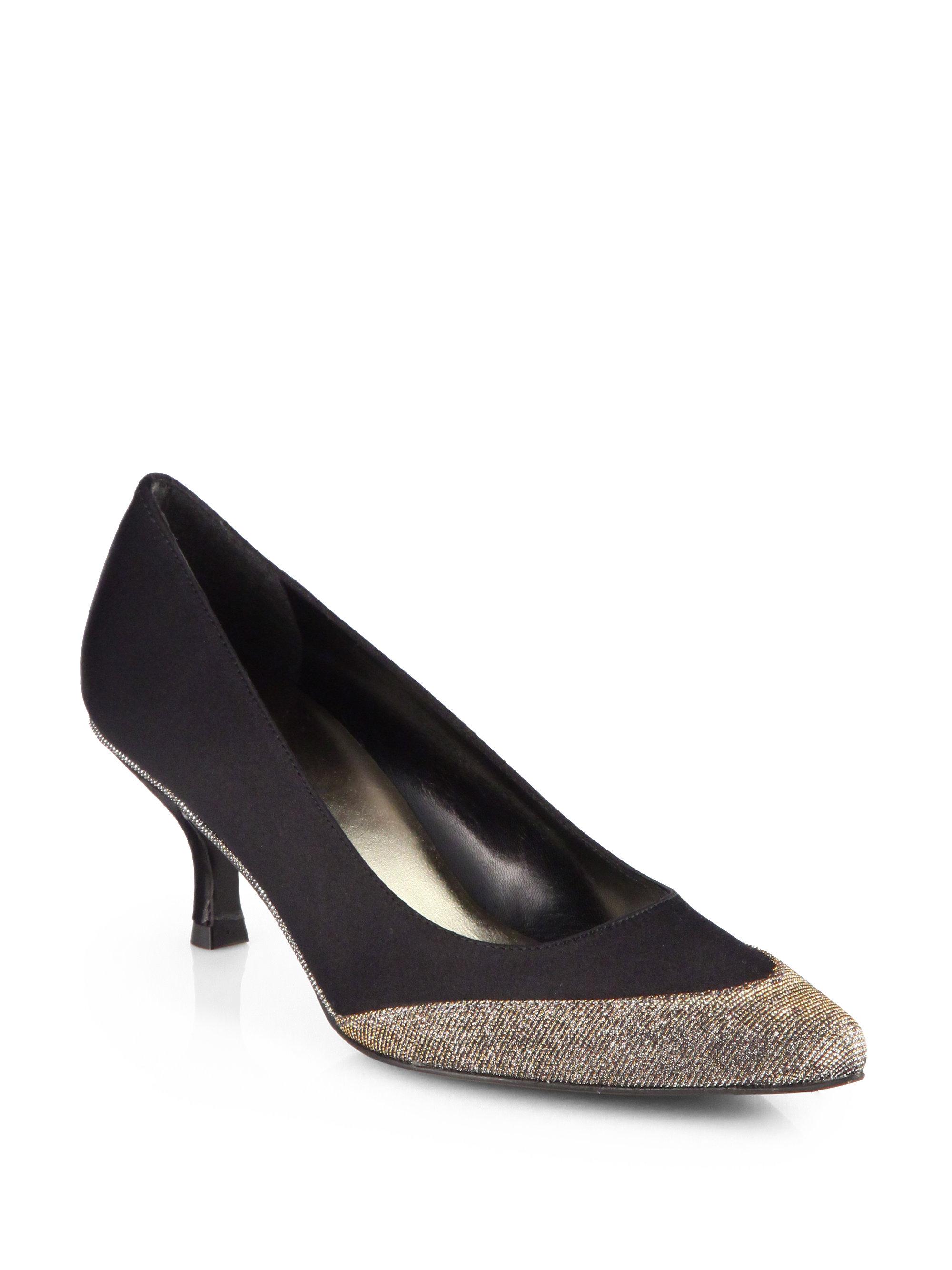 Black Glitter Pump Shoes