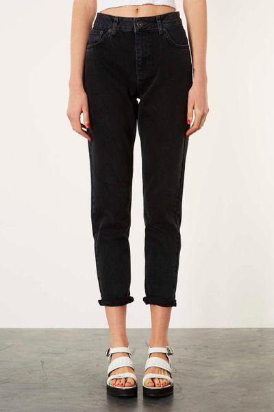 topshop moto black mom jeans in black lyst. Black Bedroom Furniture Sets. Home Design Ideas