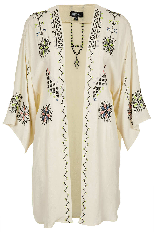 Topshop aztec embroidered kimono in white lyst