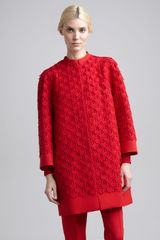 Valentino Womens Guipure Lace Coat Rouge - Lyst