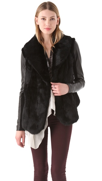 Veda Stella Fur Jacket with Leather Sleeves in Black | Lyst