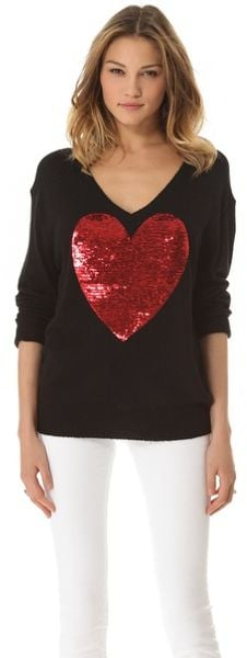 Wildfox Sequin Heart Sweater - Lyst