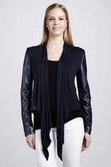 Bagatelle Waterfall Drape Front Leather Jacket - Lyst