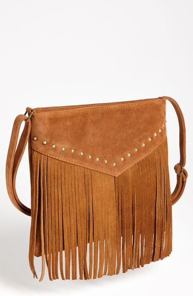bp studded fringe crossbody bag in brown lyst
