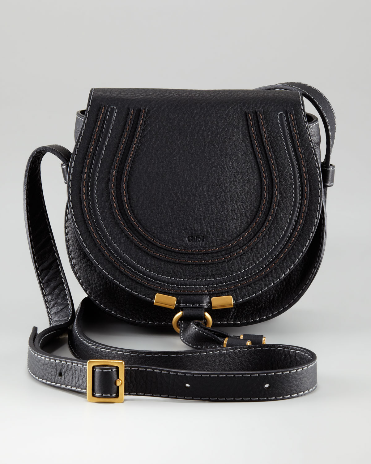 Chloé Marcie Small Satchel Bag in Black | Lyst