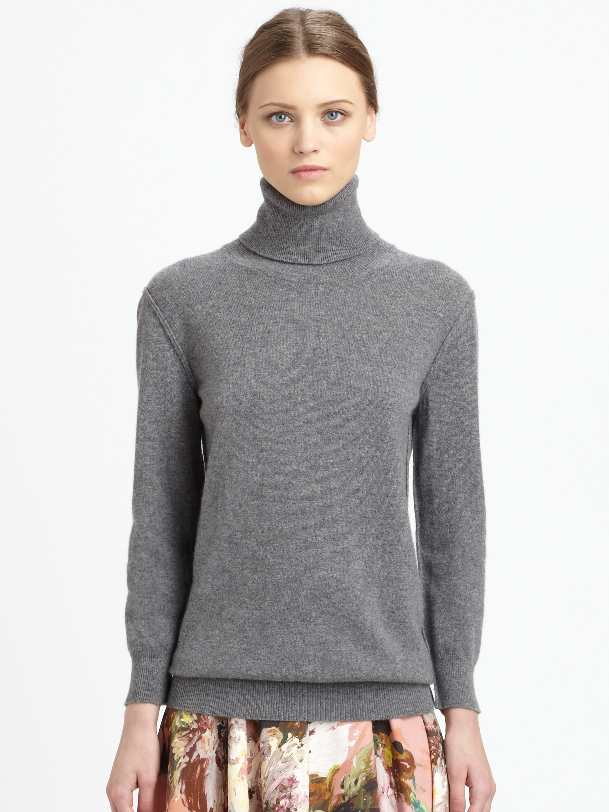 Dolce & gabbana Cashmere Turtleneck Sweater in Gray | Lyst