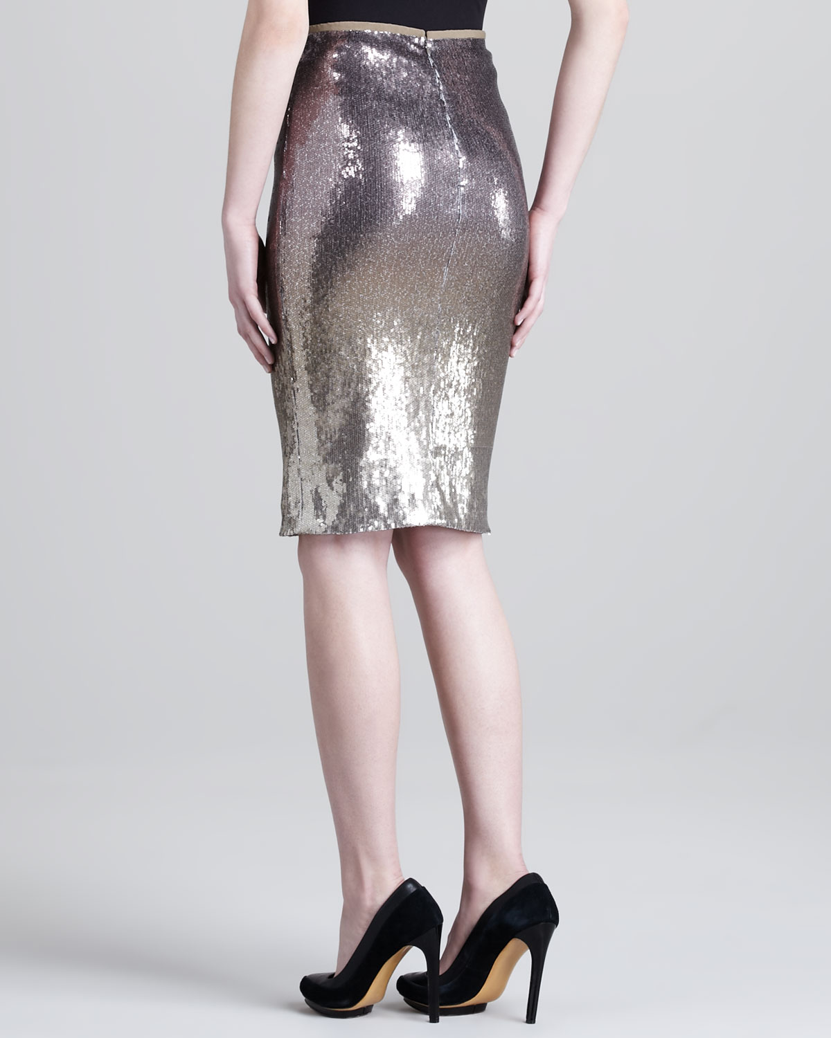 donna karan metallic pencil skirt in metallic lyst