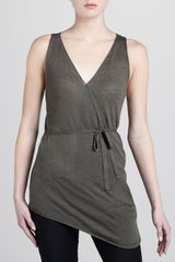 Donna Karan New York Sleeveless Linen Cashmere Wrap Top - Lyst