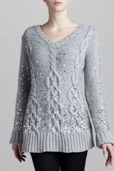 Donna Karan New York Handknit Sequined Cable Sweater - Lyst
