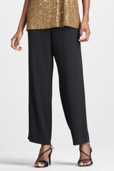 Eileen Fisher Silk-georgette Pants - Lyst