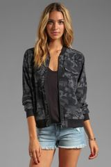 Equipment Underground Camo Printed Abbot Bomber with Contrast in Slate - Lyst