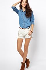 Free People Denim Shorts with Embroidered Detail - Lyst
