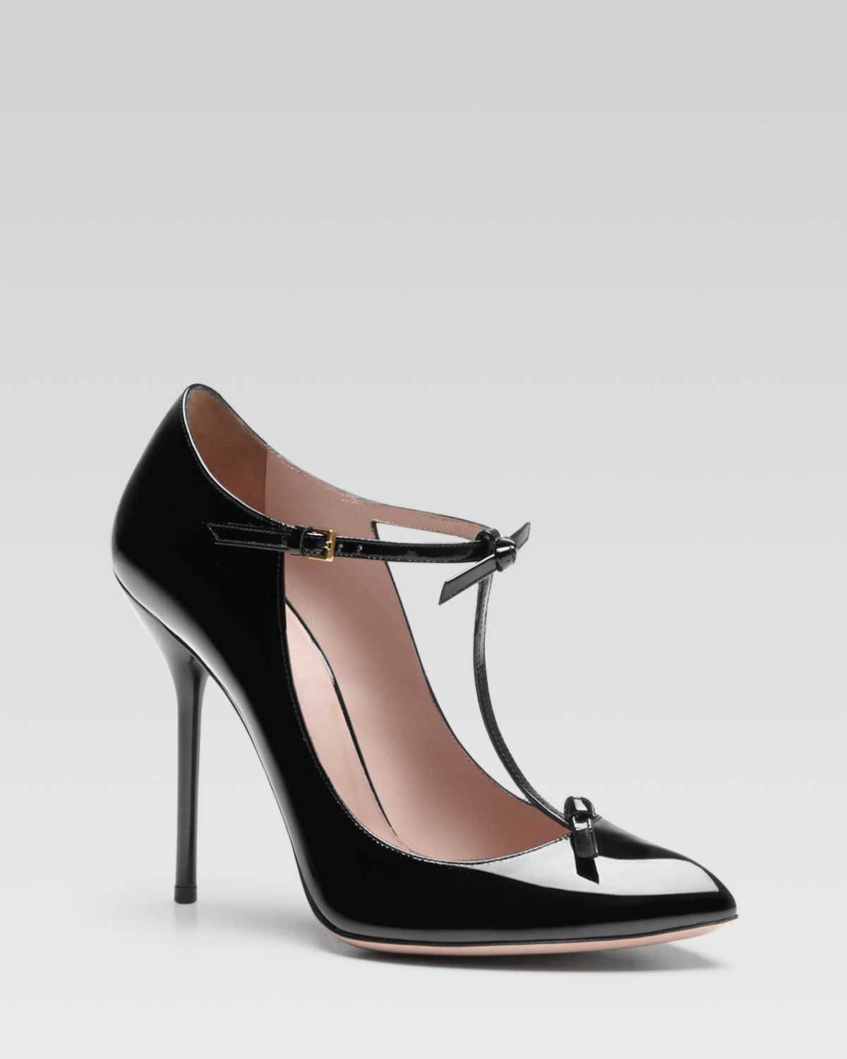 98adc42766dc Lyst - Gucci Beverly Patent Leather T-Strap Pumps in Black