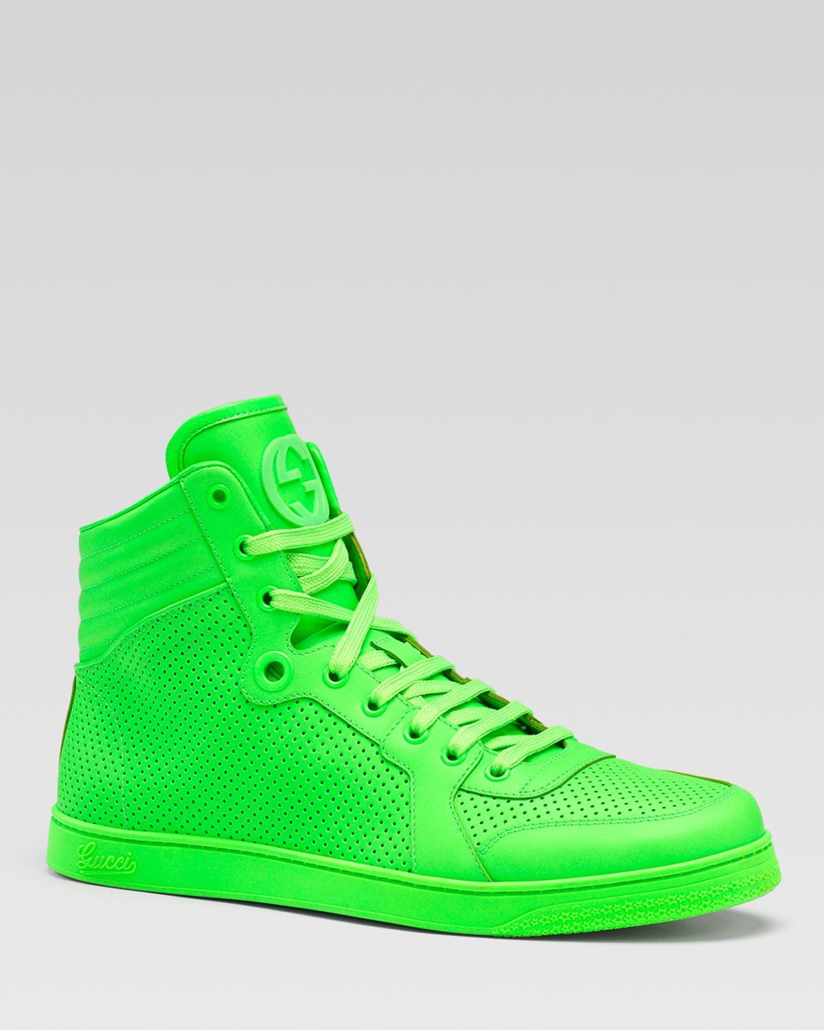 gucci coda neon leather hightop sneakers in green for men neon green lyst. Black Bedroom Furniture Sets. Home Design Ideas